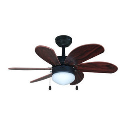 "Builder's Collection - Oil Rubbed Bronze 30"" Ceiling Fan w/ Light Kit - Motor Finish: Oil Rubbed Bronze"