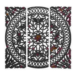 UMA - Pembroke Place Wooden Wall Grille Trio - Beautifully carved wood panels with a delicate symmetrical flow of loops, leaves and floral shapes.