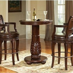 Antoinette 3 Piece Pub Table Set in Multi-Step Rich Cherry - With dramatic hand carved legs and generous proportions, the Antoinette Pub Table and Chairs are beautifully crafted from mahogany, cherry and veneers with a hand-planed surface and hand carved edges. The Antoinette Pub Table has the look and feel of an antique. The optional rich hand carved bicast leather swivel bar chairs add sophistication and comfort. The buffet, hutch, and curio give it that extra touch of class.