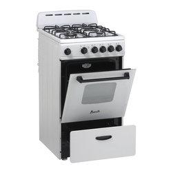 """Avanti - 20"""" Gas Range Oven - White - Dimensions: 40.25"""" H x 19.75"""" W x 25"""" D"""