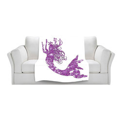 DiaNoche Designs - Fleece Throw Blanket by Susie Kunzelman - Mermaid Purple - Original Artwork printed to an ultra soft fleece Blanket for a unique look and feel of your living room couch or bedroom space.  DiaNoche Designs uses images from artists all over the world to create Illuminated art, Canvas Art, Sheets, Pillows, Duvets, Blankets and many other items that you can print to.  Every purchase supports an artist!