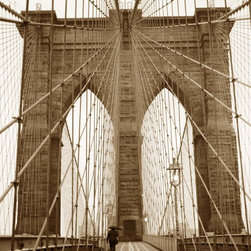"""""""Crossing The Bridge (Brooklyn Bridge, New York)"""" Artwork - My favorite photograph of the brooklyn bridge. fall in new york is lovely. i love walking the streets under umbrella. autumn brings a nostalgic feel. maybe it is time to think of all good memories, before the rain wil wash them away.. untill the next fall. this original sepia photograph is in black museum quality wooden frame, archival acid free mat. dimensions: frame - 14x17, photo print - 8x10. art work signed by me (the artist). the actual capture is handwritten."""