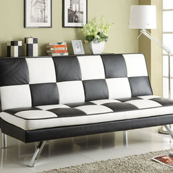 Coaster - 300225 White/Black Sofa Bed - Blend the boldness of contemporary design and retro simplicity together with this black and white checkered sofa bed. Made with a comfy leather-like vinyl with chrome legs, this dual-purpose piece is sure to make a statement in any room.