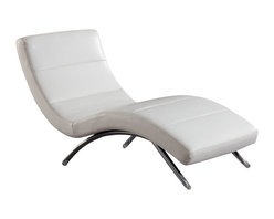 Global Furniture USA - R820 White Bonded Leather Lounge Chaise Chair - The R820 Indoor Chaise Lounge adds style and comfort that will work with any decor. The chair comes upholstered in a beautiful white bonded leather. High density foam is placed within for added comfort. Curved for comfort, this chaise lounge features a slim armless design. This chaise has a Sleek, stylish, and oh so curvy design perfect for any setting.The price shown includes the chaise chair only.