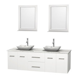 "Wyndham Collection - Centra 72"" White Double Vanity, White Carrera Marble Top, Carrera Marble Sinks - Simplicity and elegance combine in the perfect lines of the Centra vanity by the Wyndham Collection. If cutting-edge contemporary design is your style then the Centra vanity is for you - modern, chic and built to last a lifetime. Available with green glass, pure white man-made stone, ivory marble or white carrera marble counters, with stunning vessel or undermount sink(s) and matching mirror(s). Featuring soft close door hinges, drawer glides, and meticulously finished with brushed chrome hardware. The attention to detail on this beautiful vanity is second to none."