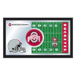 """Holland Bar Stool - Holland Bar Stool Ohio State Football Mirror - Ohio State Football Mirror belongs to College Collection by Holland Bar Stool The perfect way to show your school pride, our Football Mirror displays your school's symbols with a style that fits any setting.  With it's simple but elegant design, colors burst through the 1/8"""" thick glass and are highlighted by the mirrored accents.  Framed with a black, 1 1/4 wrapped wood frame with saw tooth hangers, this 15""""(H) x 26""""(W) mirror is ideal for your office, garage, or any room of the house.  Whether purchasing as a gift for a recent grad, sports superfan, or for yourself, you can take satisfaction knowing you're buying a mirror that is proudly Made in the USA by Holland Bar Stool Company, Holland, MI.   Mirror (1)"""