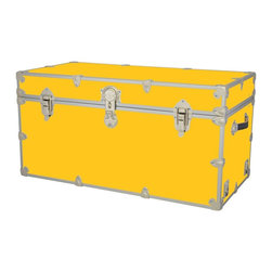 Artisans Domestic - Storage Toy Box in Yellow (32 in. L x 18 in. W x 14 in. H (29 lbs.)) - Choose Size: 32 in. L x 18 in. W x 14 in. H (29 lbs.). Include small ventilation holes and specially designed, American made two soft-close lid supports. Retro style. Artisans domestic superior quality and heavy-duty. Handcrafted and kid friendly. Designed for a child's well-being. Lined with cabinet grade birch. Heavy gauge steel trim and corner pieces. Leather strap handles for moving easily. Hasp for padlock. Waterproof, dent and scratch resistant. Made from 1000 denier cordura sheathing, baltic birch and laminate. Made in USASafety First! yet looks handsome in any room. This treasure chest incorporates several safety features. They are even strong enough to stand on! Now that's a great toy box!