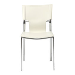 Euro Style - Vinnie Side Chair (Set Of 4) - White Leather/Chrome - Leather might be at the top of your list and the Vinnie collection delivers. The clever uniqueness of these chairs is in the slim, cutaway leather on the seat back. It's a pleasing shape for a very popular grouping.