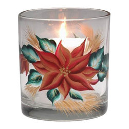 ATD - 3.5 Inch Festive Christmas Poinsettia Flower Votive Glass Candle Cup - This gorgeous 3.5 inch festive Christmas poinsettia flower votive glass candle cup has the finest details and highest quality you will find anywhere! 3.5 inch festive Christmas poinsettia flower votive glass candle cup is truly remarkable.