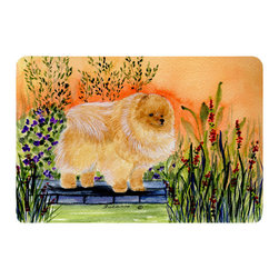 Caroline's Treasures - Pomeranian Kitchen or Bath Mat 20 x 30 - Kitchen or Bath Comfort Floor Mat This mat is 20 inch by 30 inch. Comfort Mat / Carpet / Rug that is Made and Printed in the USA. A foam cushion is attached to the bottom of the mat for comfort when standing. The mat has been permanently dyed for moderate traffic. Durable and fade resistant. The back of the mat is rubber backed to keep the mat from slipping on a smooth floor. Use pressure and water from garden hose or power washer to clean the mat. Vacuuming only with the hard wood floor setting, as to not pull up the knap of the felt. Avoid soap or cleaner that produces suds when cleaning. It will be difficult to get the suds out of the mat.
