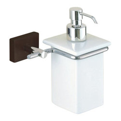 Gedy - Wall Mounted Porcelain Soap Dispenser With Wood and Chrome Mounting - Contemporary style wall mount square hand soap dispenser.