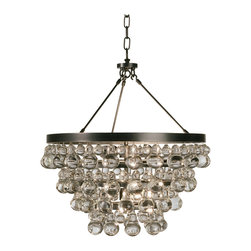 Robert Abbey - Bling Chandelier - Bling chandelier features crystal drops. Finish available in polished nickel and deep patina bronze. Can be converted to a semi-flush mount by mounting the center canopy directly to ceiling canopy. Four 60 watt, 120 volt, B11 type torpedo base candelabra bulbs are required, but not included. General light distribution. Height is adjustable 25.25-61.25 inches. 20.5 inch width x 22 inch height.