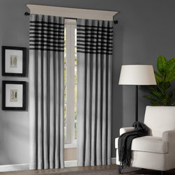 Madison Park - Madison Park Canyon Grey / Black Window Panel Pair - Give your windows special treatment with this microsuede window panel pair. These contemporary panels are grey with black stripes to give your room a modern flair. Available in three lengths to choose from.