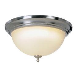 AF Lighting - AF Lighting Sonoma Single Light Flush Ceiling Fixture Fluorescent Brushed Nickel - Flush Mount Ceiling Light