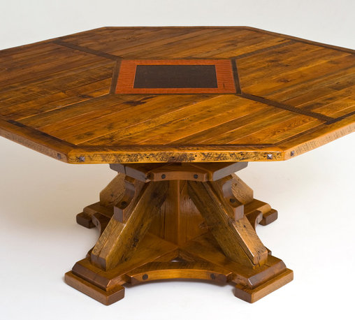Round or Octagon Reclaimed Wood Dining Table - Available in custom sizes round, square or octagon.  Made from distressed reclaimed wood beams, timbers, and planks. The top is shown with option inlay work.