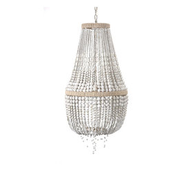 Malibu Up Chandelier - A traditional design rendered with an organic tone that makes it perfect for looks that rely on naturally-derived elegance or coastal chic, the Malibu Up chandelier features a continuous shell of beads as white as beach rocks, graduated in size for a loose drape and an easy line for the eye to follow. A wonderful companion to wicker, rattan, or hand-rubbed antique wood, the chandelier is utterly wonderful in nautical or international decor.