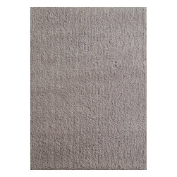 Rug - ~5 ft. x 7 ft. Authentic Silver Living Room Area Rug, Shaggy & Hand-tufted - Living Room Hand-tufted Shaggy Area Rug