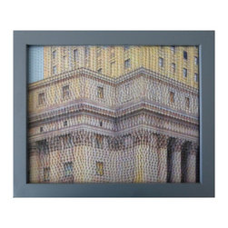 "Study For Gotham Windows 1441, Original, Mixed Media - ""digitally manipulated photography, pigment printing on silk, hand quilting, gallery wrapped on stretched canvas, framed"""