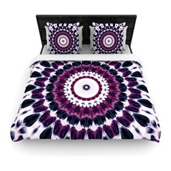 "Kess InHouse - Iris Lehnhardt ""Batik Pattern"" Purple Geometric Woven Duvet Cover (King, 104"" x - Add a splash of artistically inclined comfort to the average down comforter with a large focus to your bed! Our duvet cover is made of a beautifully crafted woven polyester fabric on top and a comforting and soft cotton/poly blend on bottom! We highly recommend washing your artwork before laying it onto your bed for added comfort and softness! These are totally machine washable and won't fade!"