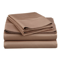 600 Thread Count Cotton Rich Twin XL Taupe Sheet Set - Cotton Rich 600 Thread Count Twin XL Taupe Sheet Set