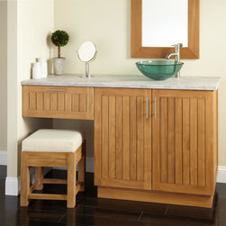 """60"""" Montara Teak Vessel Sink Vanity with Makeup Area - Enjoy the added storage of a makeup drawer with the 60"""" Montara Teak Vanity. This beautiful vanity sports natural wood grains and features a two-door cabinet for organizing towels and other items."""