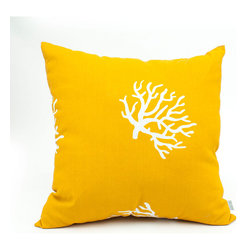 Majestic Home - Outdoor Yellow Coral Large Pillow - If this cool coral pattern suits your beachy style, toss it into your mix — indoors our out. The fabric's got UV protection built in, so the pillow can take a weather beating and still look beautiful.