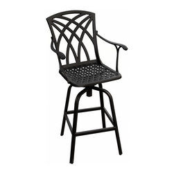Versailles Cast Aluminum Swivel Bar Chair - Customize your patio area for each social gathering with the easy-to-move, lightweight Versailles Cast Aluminum Swivel Bar Chair. Made of cast aluminum, this chair is low maintainence and resistant to the outdoor elements.