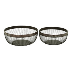 Woodland Imports - Set of 2 Metal Bronze Brass Style Basket Complements Traditional Decor 50438 - Set of 2 metal bronze and brass style storage and multi-purpose basket complements traditional home patio and yard decor