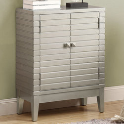 Monarch - Silver Contemporary Bombay Chest - Make this brushed silver contemporary bombay chest brighten your home with it's double shelf storage and rich deep notched design.