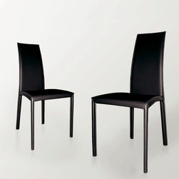 Com.p.ar. Furniture for Living Room - Leather Dining Room Chair - Made by Com.p.ar in Italy. Finish - metal frame covered in dark brown leather, beige stitching.