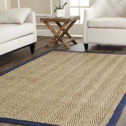 Safavieh - Hand-woven Sisal Natural/ Blue Seagrass Rug (6' Square) - Dress up any space with this natural sisal hand-woven rug made from seagrass. This rug features a natural herringbone weave and a blue border. The fringeless border on this rug gives it a clean look.