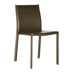 Baxton Studio - Baxton Studio Brown Burridge Leather Dining Chair - This dining chair set offers you a classy and comfortable place to sit in your dining area. The detail on these beautiful chairs is wonderful, including the contrasting stitching going down the legs of the chairs. Durable bonded leather upholstery for longer lasting use and stain resists for easy clean up. Chair constructed with sturdy steel frame lightly padded with high density foam for added comfort.