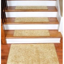 """Dean Flooring Company - Dean DIY 30"""" x 9"""" Premium Carpet Stair Treads and 2' x 3' Mat - Color: Softique - Dean DIY 30"""" x 9"""" Premium Carpet Stair Treads and 2' x 3' Mat - Color: Softique Straw : Dean Premium Super Soft  Carpet Stair Treads Plus a Matching 2' x 3' Landing Mat  by Dean Flooring Company  Color: Softique Straw  Color matching finished edges.      Set includes 13 pieces.     Each tread measures approximately 30"""" x 9"""".     Also easy to spot clean and vacuum.     Helps prevent slips on your hardwood stairs.     Great for helping your dog easily navigate your slippery staircase.     Reduces noise     Reduces wear and tear on your hardwood stairs     Attractive: adds a fresh new look to your staircase.     Easy DIY installation with double sided carpet tape (included).     Made from premium super soft stain and spill resistant residential carpeting.     Attractive rounded corners.     Made in the USA!  Add a touch of warmth and style to your home today with stair treads from Dean Flooring Company!"""
