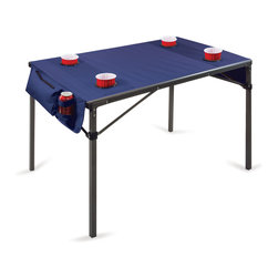 Picnic Time - Travel Table - Red with Gunmetal Grey Frame - Picnic Time's Travel Table is a portable, soft-top table for four that features six cup holders and two zippered security pockets to hold personal effects. The Travel Table comes equipped with matching drawstring carry bag. Made of 600D polyester with a powder-coated steel frame, this table is perfect for tailgating, camping, or card games.