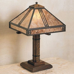 Arroyo Craftsman - Prairie Table Lamp by Arroyo Craftsman - Honoring the principles of Gustav Stickley and Frank Lloyd Wright, the Prairie Table Lamp features clean geometric lines, exposed structural details and attention to quality. Its base is made of quarter-sawn oak, evocative of the Craftsman period, and four individual pull-chains offer various levels of light intensity.Arroyo Craftsman, located in Baldwin Park, CA, handcrafts and custom-finishes lighting products for residential and commercial applications.The Arroyo Craftsman Prairie Table Lamp is available with the following:Details: Handmade glass shadeSolid brass accents4 pull-chain socketsQuarter-sawn oak baseUL ListedMade in the USAOptions: Finish: Antique Brass, Antique Copper, Bronze, Graphite, Mission Brown, Pewter, Raw Copper, Rustic Brown, Satin Black, Verdigris PatinaShade: Almond Mica, Amber Mica, Clear Seedy, Cream, Frosted, Gold White Iridescent, Off White, Tan, White Opalescent.Lighting: Four 40 Watt 120 Volt A-19 Incandescent lamps (not included). Shipping: This is a custom product, made-to-order. For information regarding return or cancellation of custom products, please see our Terms and Conditions.