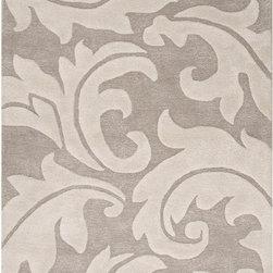 None - Hand-Made Gray/ Ivory Wool/ Art Silk Plush Pile Rug (5x8) - Hand-Made Gray/ Ivory Wool/ Art Silk Plush Pile Rug (5x8)