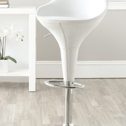 Safavieh Reptone White Adjustable Height Swivel Bar Stool