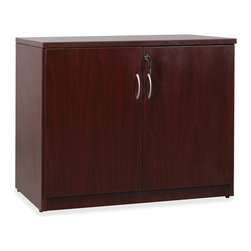 Lorell - Lorell Essentials Series Mahogany Laminate Accessories - 22.5 x 36 x 30 - Two-door storage cabinet is with Lorell Essentials Series Laminate Furniture. The Essentials Series offers high-quality laminate construction and a contemporary design. Top, side and shelf panels are made of 25mm melamine-faced chipboard. Other panels are made of 18mm melamine-faced chipboard.