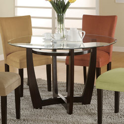 Coaster - Bloomfield Collection Round Dining Table in Cappuccino - Stylish dining set features a bottom cross design with a circular top ring for extra support and sturdiness. Made of hardwoods and finished in cappuccino. Available micro fiber matching parson chairs come in 4 colors.