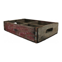Dr Pepper Wood Crate - This is a vintage Dr Pepper wood crate that holds 4 six packs of soda. Original red paint, it is distresssed due to its age and wear. On the bottom, the iron is slightly bent on one side, as shown in photo. Can be hung on wall to make a display shelf.