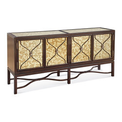 Bassett Mirror Company - Bassett Mirror Hampton 72 Inch Buffet in Dark Espresso Cherry - 72 Inch Buffet in Dark Espresso Cherry belongs to Hampton Collection by Bassett Mirror Company Jefferson linen fabric with dark Espresso cherry veneer. Buffet (1)