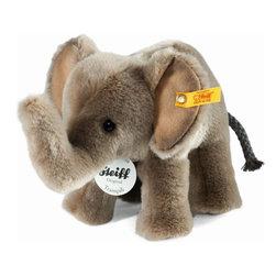 Steiff - Steiff Trampili Elephant - Steiff Trampili elephant is made of cuddly soft grey woven plush. Machine washable. Ages 3 and up.  Handmade by Steiff of Germany.