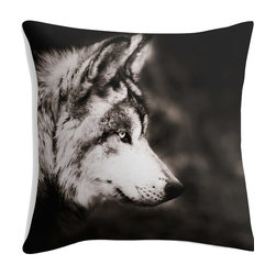 Wolf Photography Throw Pillow in Black, White, and Sepia, 20x20 - My original fine art wolf photograph on a decorative pillow. Black, white, and sepia fine art photograph on a 20x20 inch throw pillow cover.