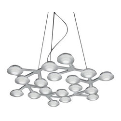 """Artemide - Artemide LED Net Circle Suspension - The LED Net Circle Suspension has been designed by Michele de Lucchi and Alberto Nason and made by Artemide in Italy. This fixture is available in a round fixture resembling a combination of a circuit board and a wreath. Composed of of aluminum with a painted white finish. Lamping is provided by 17 LED's that operate under 39W of power to create a very energy efficient light.  Product Details:    The LED Net Circle Suspension has been designed by Michele de Lucchi and Alberto Nason and made by Artemide in Italy. This fixture is available in a round fixture resembling a combination of a circuit board and a wreath. Composed of of aluminum with a painted white finish. Lamping is provided by 17 LED's that operate under 39W of power to create a very energy efficient light.   Details:     Manufacturer:  Michele de Lucchi and Alberto Nason   Designer:  Artemide     Made in:  Italy     Dimensions:   Height: 78 3/4"""" (200 cm) X Diameter: 25 5/8"""" (65 cm)     Light bulb:   17 x 2.3W LEDs     Material:  aluminum"""