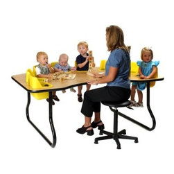 8 Seat Toddler Activity Table - You can hold court in your own little Camelot when you've got your knights and damsels busy at work in the 8 Seat Toddler Activity Table. Molded plastic seats that are integrated into the top of a sturdy wood-laminate table let you conserve space and sanity while you keep 16 little hands busy where you can see them. Each removable seat is molded from easy-to-clean polyethylene and features a safety belt for added security. Heavy tubular steel legs can be fixed at either 14 or 27 inches high depending on the needs of your institution. Both the chairs and tabletop are available in your choice of colors. These seats are recommended for children ages 5 to 24 months.About Toddler TablesAlmost 30 years ago Toddler Tables founder and church minister Glenn Holland got to work in his garage to fix a problem that he saw every Sunday. He noticed that parents with young children spent more time holding their children than they did being involved in the congregation. With an idea in mind he set out using the best materials and production methods available to help care for the children and assist the parents in his congregation. Holland's hard work paid off when he developed the first Toddler Table. With the seat mounted into the top of the table he was able to provide caregivers with more flexibility in their jobs and gave the children a safe and comfortable way to interact with other children. Before long Holland's new product began making waves in the child care industry and what was once being built in a garage is now produced in the Toddler Tables manufacturing facility in Raleigh North Carolina. Toddler Tables has become a symbol of commitment to the child care industry and even though they've grown beyond Holland's garage their attention to safety and quality are still available to every preschool Sunday school and daycare that cares just as much about the needs of the children they serve.
