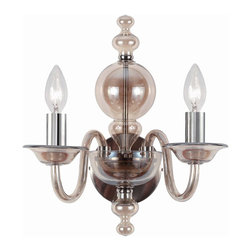 Crystorama - Crystorama Harper Wall Sconce in Chrome - Shown in picture: Wall sconce with Cognac glass body and Polished Chrome metal details.; The Harper Collection from Crystorama has a very traditional design flare but pared with the warm cognac glass body helps to create a sense of contemporary edge. The cognac glass is warm and soft enough to match any dͩcor. For a more modern flare - use the Chrome metal candle sleeves. For a more traditional decor - use the white candle sleeves. Both the chrome and white ship with each fixture.