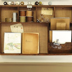 Rustic Home Office Wall Organizer Activity Center - This relaxed wall-mounted system organizes your household's busy schedule. The Burlap-covered sliding pinboard/chalkboard design lets you pin up cards and calendars and write notes on chalkboard surface. The Activity Center has six cubbies to organize accessories and display special momentoes with space for to-do lists and notes. Burlap-covered pinboard design was re-created from vintage postmarks. Whiteboard calendar offers space for to-do lists and notes, and includes a dry-erase pen and eraser. Magazine Rack has three bars to suspend magazines. Framed in solid wood and sealed with our natural rustic finish. Catalog / Internet only.
