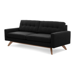 True Modern - Luna Sofa, Charcoal - Retro style and modern lines combine for this truly Jetsons-style sofa. And you'll feel like you're hovering in space when you sit down on this comfortable and classic number by Edgar Blazona.