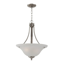 Seagull - Seagull Windgate - Heirloom Bronze Collection Pendant Lighting Fixture - Shown in picture: 65941BLE-962 Fluorescent Two Light Pendant in Brushed Nickel finish with Alabaster Glass; Energystar Compliant; Energystar Compliant