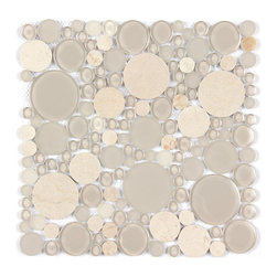 Stone & Co - Crema Marfil Marble and Glass Mix Bubble Circle Mosaics - Finish: Polished / Shiny